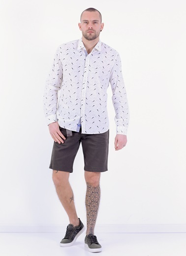 Slim Fit Uzun Kollu Desenli Gömlek-Cazador